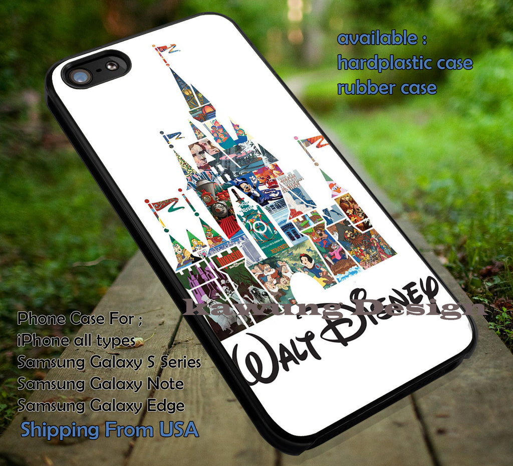 Collage Cartoon Form a Castle, Walt Disney, Disney Story, Collage Disney, Princess, case/cover for iPhone 4/4s/5/5c/6/6+/6s/6s+ Samsung Galaxy S4/S5/S6/Edge/Edge+ NOTE 3/4/5 #cartoon #disney #animated #disneycastle #movie ii - Kawung Design  - 1