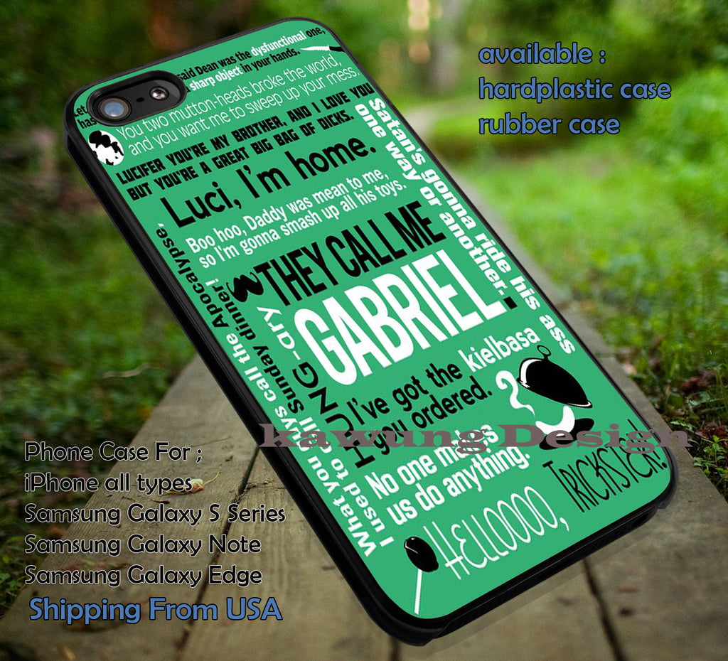 Collage Gabriel | Supernatural | Quote iPhone 6s 6 6s+ 6plus Cases Samsung Galaxy s5 s6 Edge+ NOTE 5 4 3 #movie #supernatural ii - Kawung Design  - 1