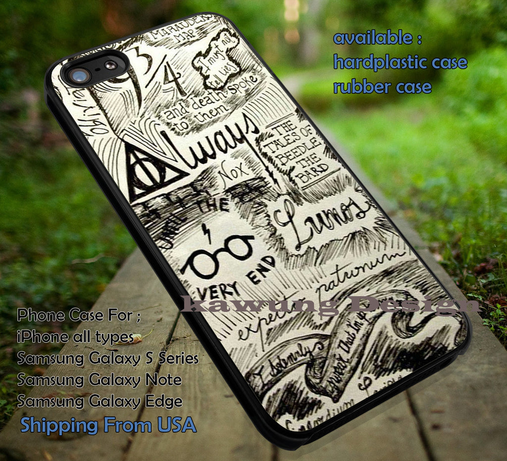 Collage Line Art Harry Potter Deathly Hallows iPhone X 8+ 7 6s Cases Samsung Galaxy S8 S7 edge NOTE 8 5 4