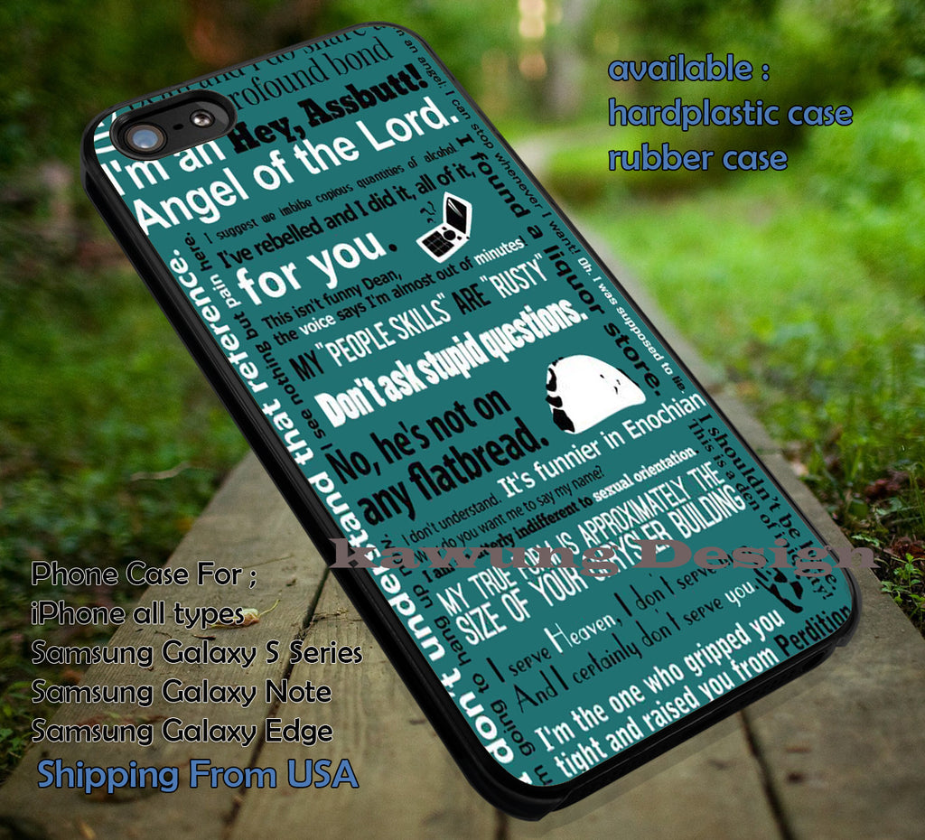 Collage Castiel Quotes Supernatural iPhone 7 7+ 6s 6 Cases Samsung Galaxy S8 S7 edge S6 S5  NOTE 5 4 3
