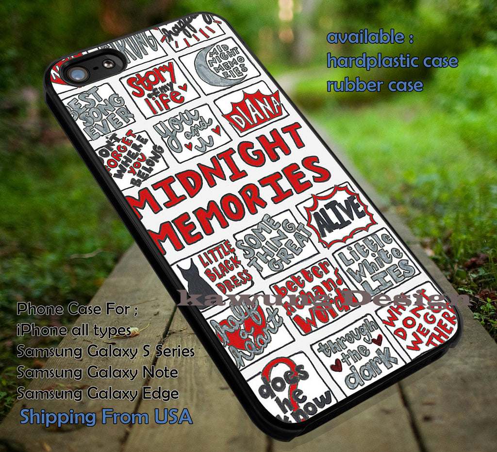 Collage song art,one direction,midnight memories,iphone6 6plus,harry styles,5sos case/cover for iPhone 4/4s/5/5c/6/6+/6s/6s+ Samsung Galaxy S4/S5/S6/Edge/Edge+ NOTE 3/4/5 #music #1d ii - Kawung Design  - 1