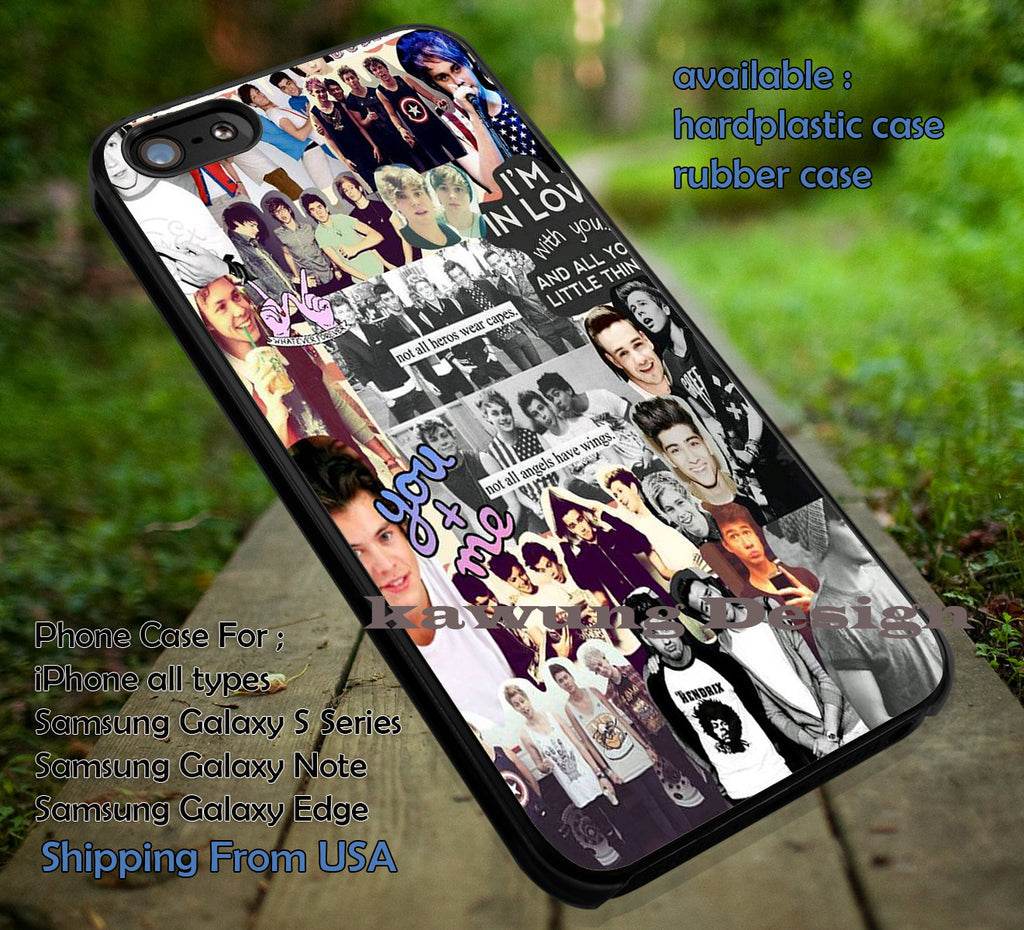 combination collage, 5sos, harry styles, ashton, 5 Second of Summer, case/cover for iPhone 4/4s/5/5c/6/6+/6s/6s+ Samsung Galaxy S4/S5/S6/Edge/Edge+ NOTE 3/4/5 #music #5sos ii - Kawung Design  - 1