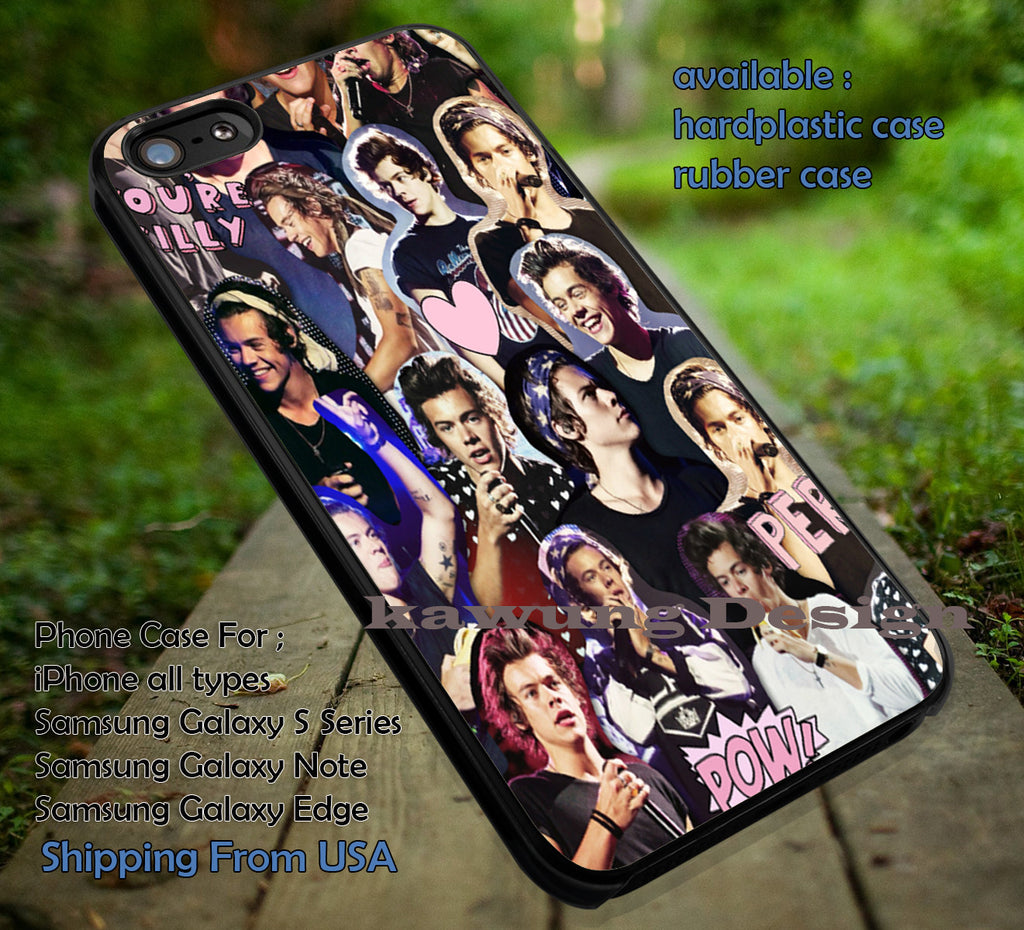 Cool boy collage,Harry Styles,One Direction,harry styles collage art,1D case/cover for iPhone 4/4s/5/5c/6/6+/6s/6s+ Samsung Galaxy S4/S5/S6/Edge/Edge+ NOTE 3/4/5 #music #1d ii - Kawung Design  - 1
