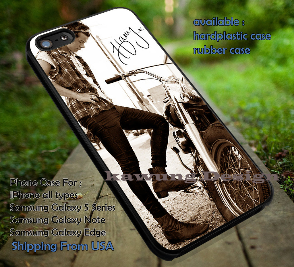 Cool with motor cycle,Harry Styles,harry signature,one direction,1D case/cover for iPhone 4/4s/5/5c/6/6+/6s/6s+ Samsung Galaxy S4/S5/S6/Edge/Edge+ NOTE 3/4/5 #music #1d ii - Kawung Design  - 1