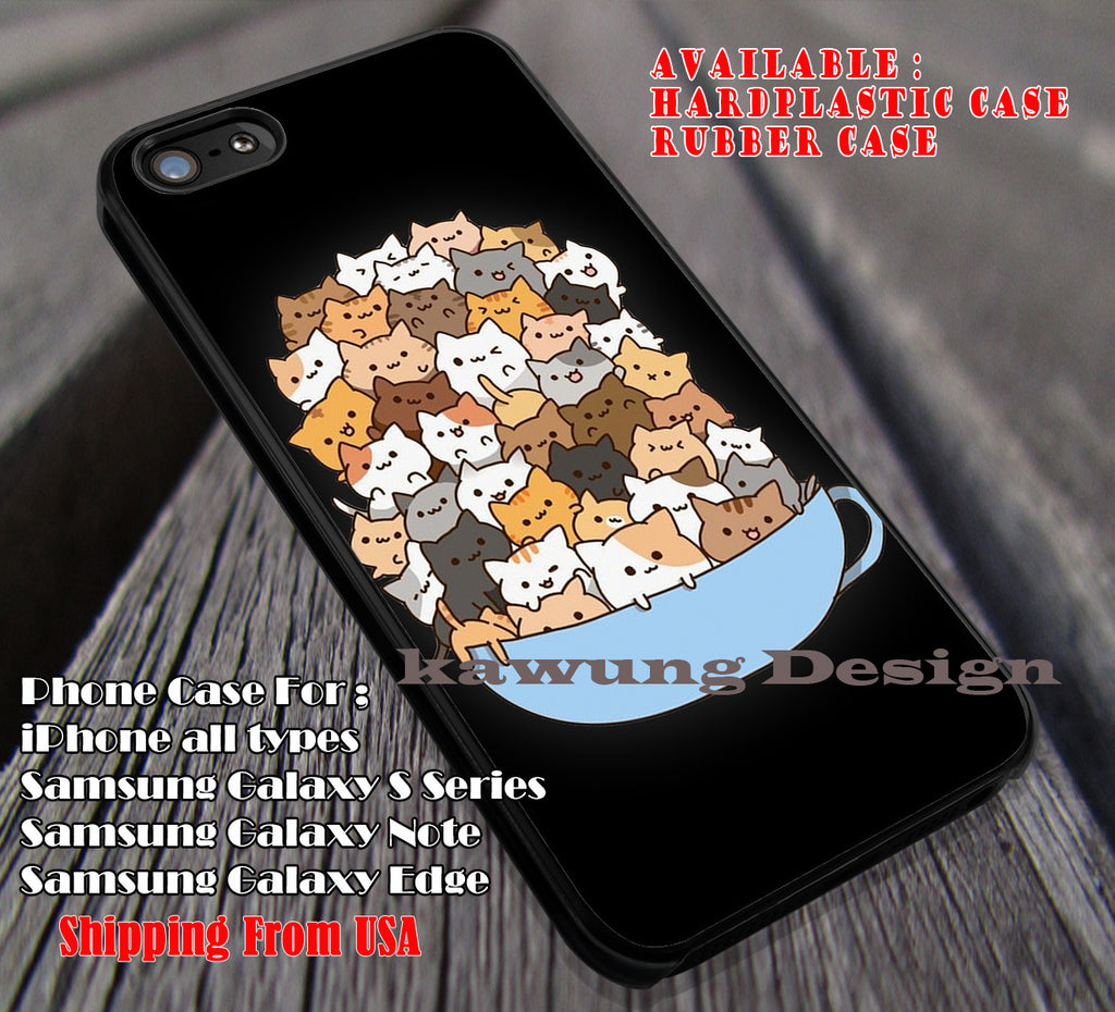 Cup Cats | Cat | Because | Animal | Cute Cats | Pitt Bull | case/cover for iPhone 4/4s/5/5c/6/6+/6s/6s+ Samsung Galaxy S4/S5/S6/Edge/Edge+ NOTE 3/4/5 #cartoon ii - Kawung Design  - 1