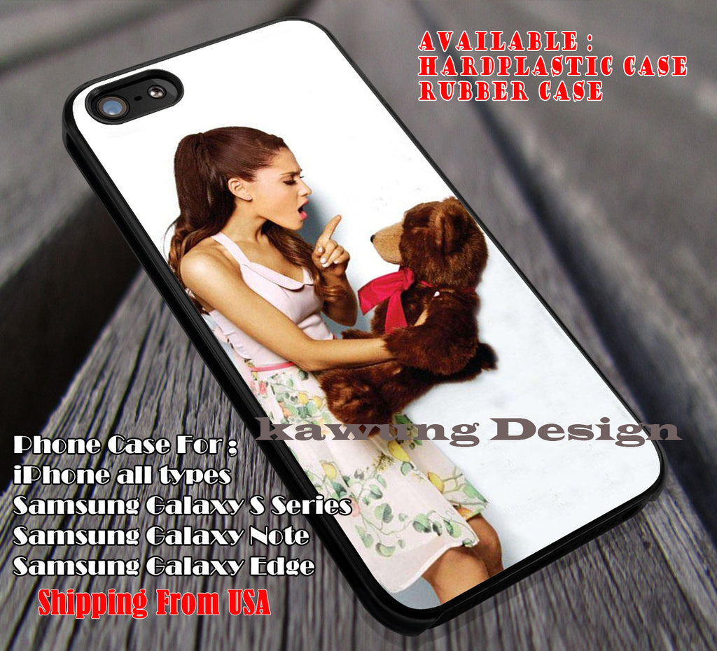 Cute Ariana Grande with Teddy Bear case/cover for iPhone 4/4s/5/5c/6/6+/6s/6s+ Samsung Galaxy S4/S5/S6/Edge/Edge+ NOTE 3/4/5 #music #arn ii