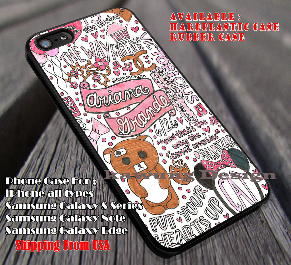 Cute Collage Cute Singer | Ariana Grande | case/cover for iPhone 4/4s/5/5c/6/6+/6s/6s+ Samsung Galaxy S4/S5/S6/Edge/Edge+ NOTE 3/4/5 #cartoon #music #arn ii - Kawung Design  - 1