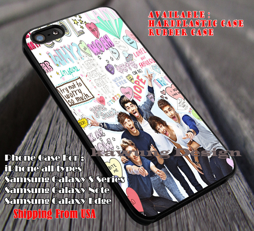 Cute lovely band,One Direction,Harry Styles,zayn malik,niall horan,1D,liam payne,Louis Tomlinson case/cover for iPhone 4/4s/5/5c/6/6+/6s/6s+ Samsung Galaxy S4/S5/S6/Edge/Edge+ NOTE 3/4/5 #music #1d ii - Kawung Design  - 1