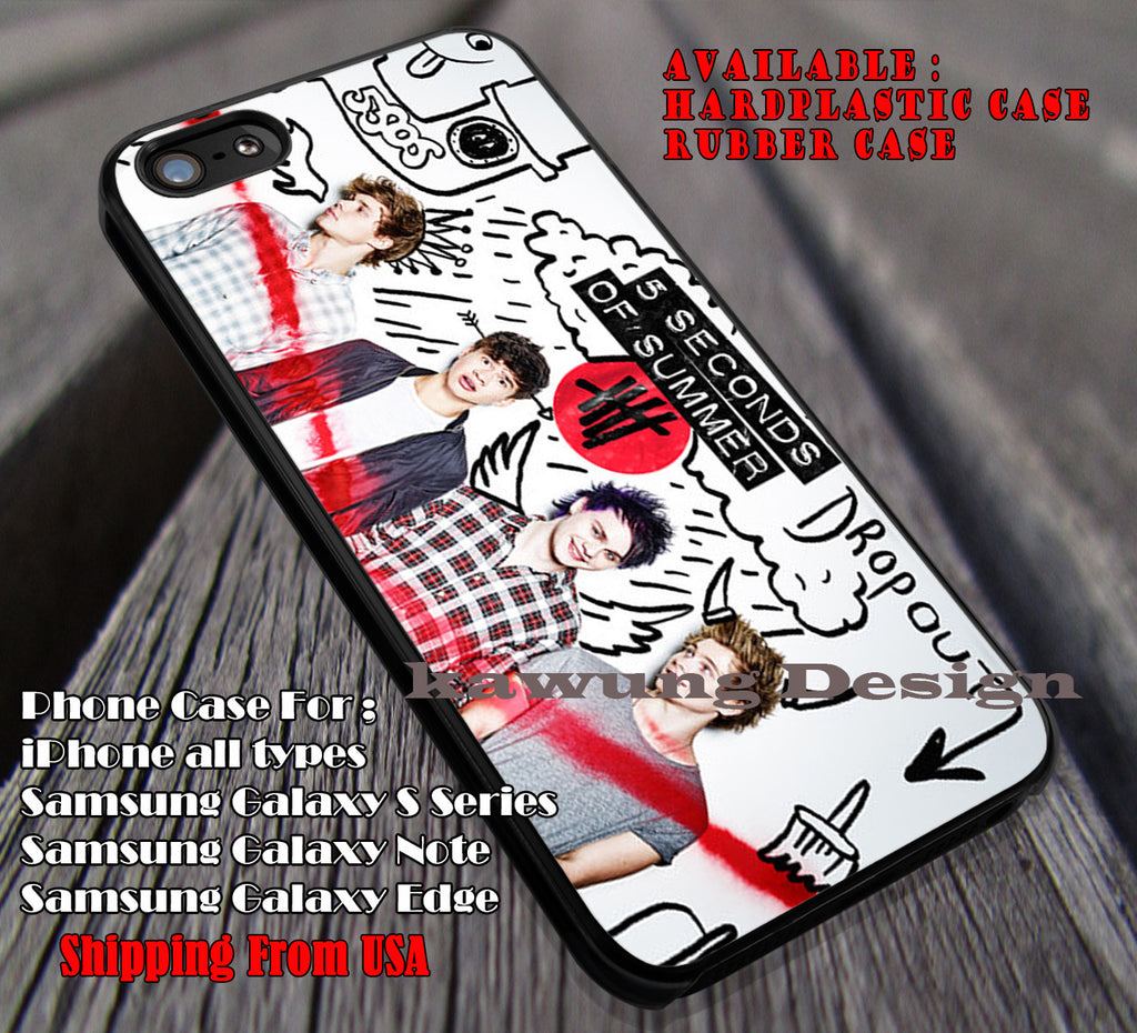 Drop out summer band, drop out album, harry styles, 5 Second of Summer, case/cover for iPhone 4/4s/5/5c/6/6+/6s/6s+ Samsung Galaxy S4/S5/S6/Edge/Edge+ NOTE 3/4/5 #music #5sos ii - Kawung Design  - 1