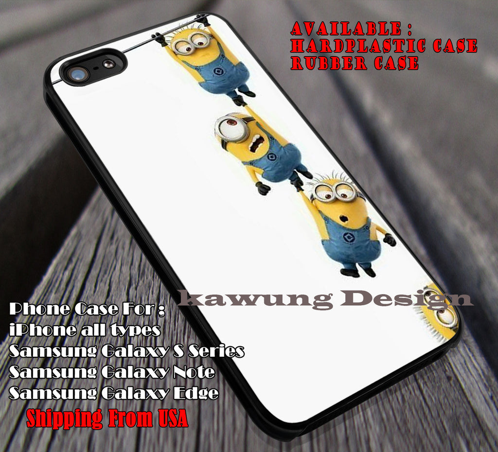 Funny Hanging Together, Mini, Yellow Pappoy, case/cover for iPhone 4/4s/5/5c/6/6+/6s/6s+ Samsung Galaxy S4/S5/S6/Edge/Edge+ NOTE 3/4/5 #cartoon #animated #DespicableMe ii - Kawung Design  - 1