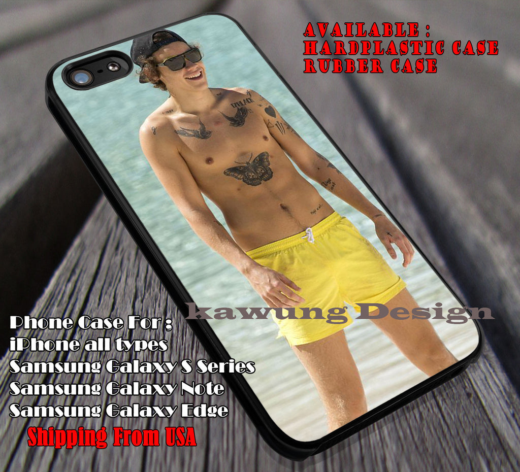 Harry styles yellow short,One Direction,Harry Styles,Tattoo,1D,5sos case/cover for iPhone 4/4s/5/5c/6/6+/6s/6s+ Samsung Galaxy S4/S5/S6/Edge/Edge+ NOTE 3/4/5 #music #1d ii - Kawung Design  - 1