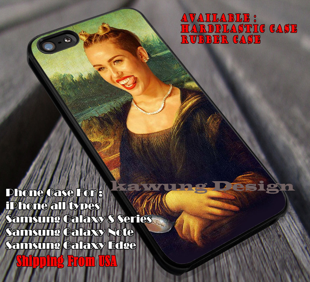 Miley Cyrus Monalisa funny, case/cover for iPhone 4/4s/5/5c/6/6+/6s/6s+ Samsung Galaxy S4/S5/S6/Edge/Edge+ NOTE 3/4/5 #music #mc ii - Kawung Design  - 1