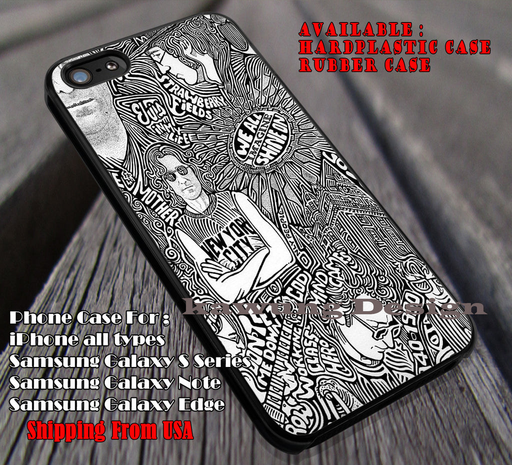 John Lenon, The Beatles, Paul Mc Cartney, case/cover for iPhone 4/4s/5/5c/6/6+/6s/6s+ Samsung Galaxy S4/S5/S6/Edge/Edge+ NOTE 3/4/5 #music #betls ii - Kawung Design  - 1
