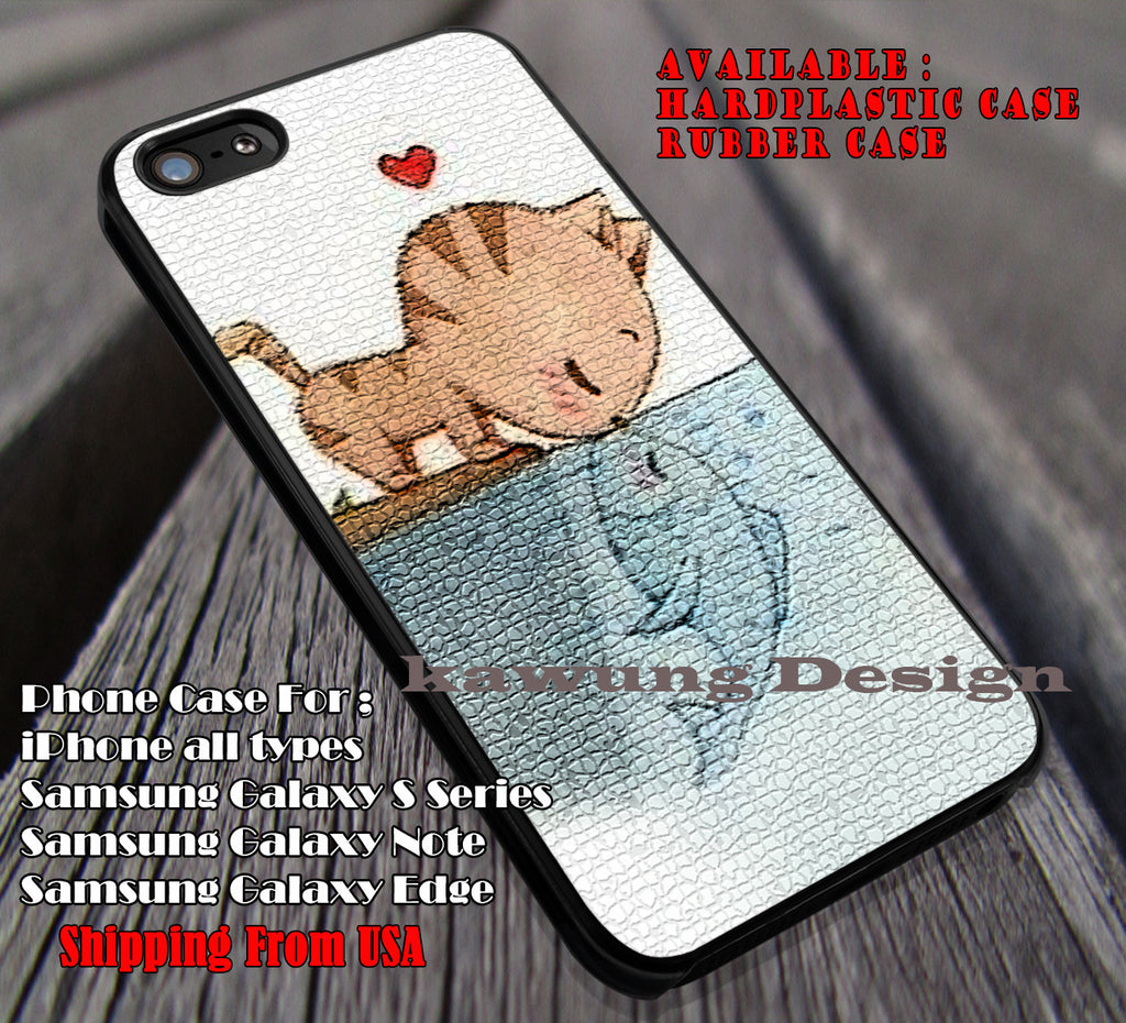 Kitty Kiss Fish | Cute | Animal | Fabel | Cat and Fish | Disney | case/cover for iPhone 4/4s/5/5c/6/6+/6s/6s+ Samsung Galaxy S4/S5/S6/Edge/Edge+ NOTE 3/4/5 #cartoon #disney #animated #theLittleMermaid ii - Kawung Design  - 1