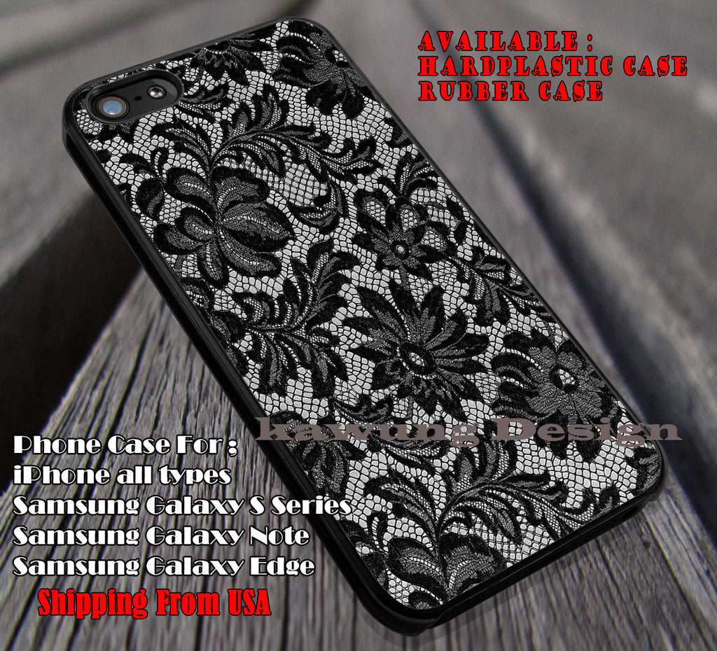 Black Lace iPhone 6s 6 6s+ 6plus Cases Samsung Galaxy s5 s6 Edge+ NOTE 5 4 3 #art ii - Kawung Design  - 1