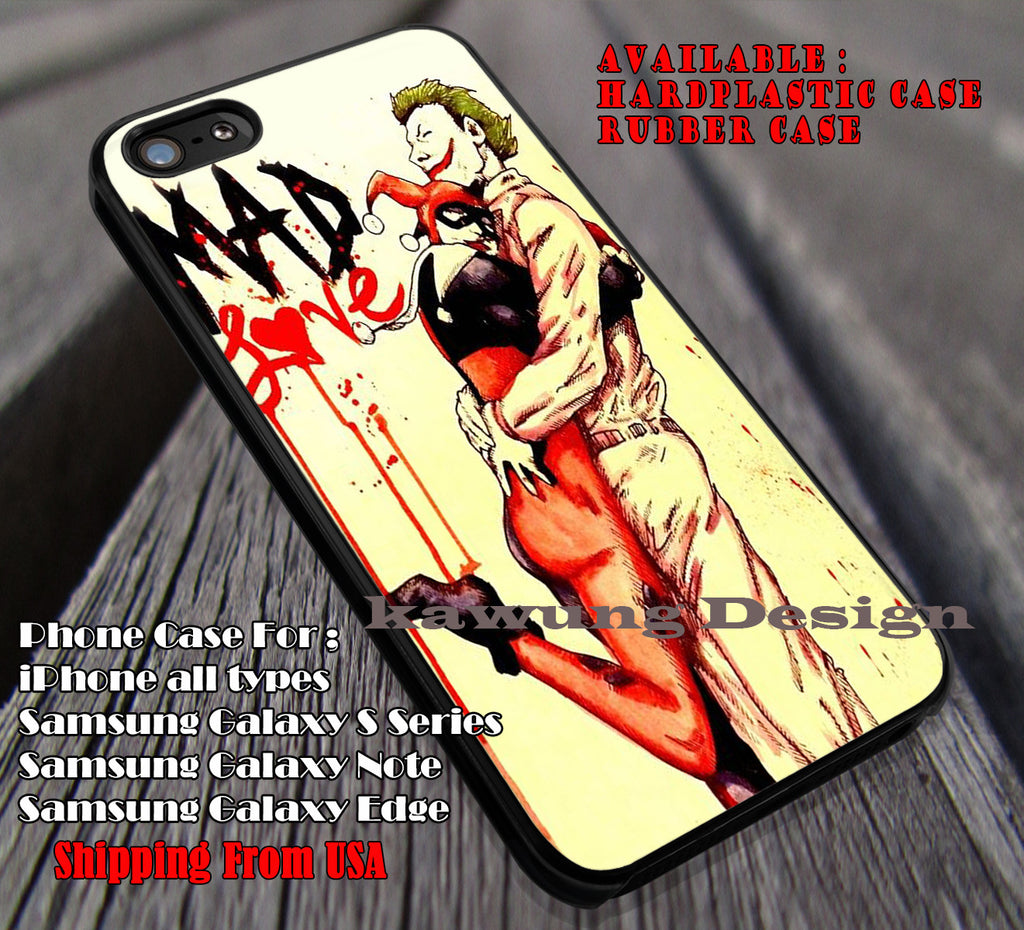 Love, Mad Love, Harley Quinn, Joker, Clown, Couple Hugging, case/cover for iPhone 4/4s/5/5c/6/6+/6s/6s+ Samsung Galaxy S4/S5/S6/Edge/Edge+ NOTE 3/4/5 #cartoon #animated #batman ii - Kawung Design  - 1