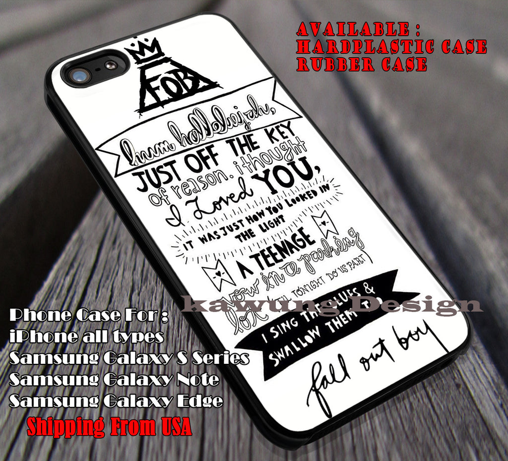 hot sale online 9aa0c bb538 Lyrics Art Fall Out Boy iPhone 8+ 7 6s Cases Samsung Galaxy S8 S7 edge NOTE  8 5 4