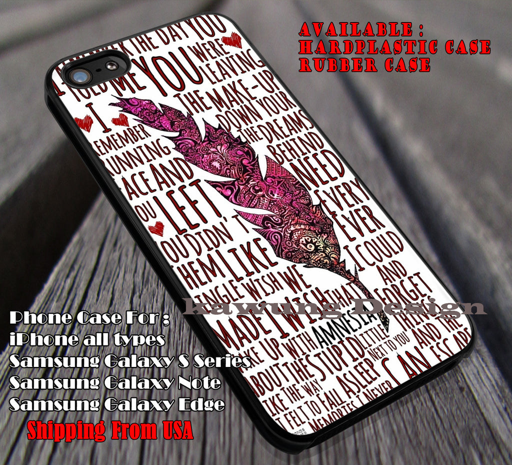 Lyric art with feather, 5sos, 5 Second of Summer, case/cover for iPhone 4/4s/5/5c/6/6+/6s/6s+ Samsung Galaxy S4/S5/S6/Edge/Edge+ NOTE 3/4/5 #music #5sos ii - Kawung Design  - 1