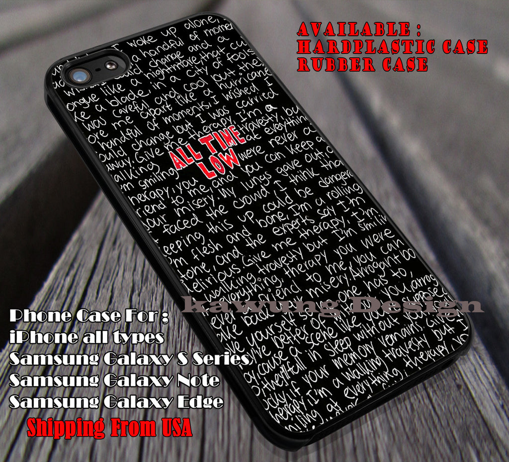 Lyric quote red black, All Time Low, case/cover for iPhone 4/4s/5/5c/6/6+/6s/6s+ Samsung Galaxy S4/S5/S6/Edge/Edge+ NOTE 3/4/5 #music #atl ii - Kawung Design  - 1