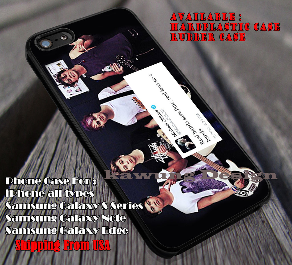 My cute may real band, real fans save bands, 5sos, 5 Second of Summer, case/cover for iPhone 4/4s/5/5c/6/6+/6s/6s+ Samsung Galaxy S4/S5/S6/Edge/Edge+ NOTE 3/4/5 #music #5sos ii - Kawung Design  - 1