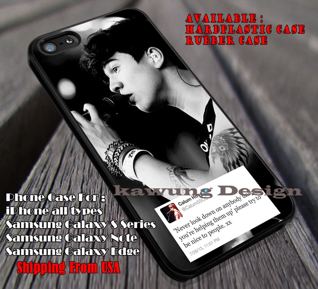 Never look down on anybody, calum hood, 5sos, 5 Second of Summer, case/cover for iPhone 4/4s/5/5c/6/6+/6s/6s+ Samsung Galaxy S4/S5/S6/Edge/Edge+ NOTE 3/4/5 #music #5sos ii - Kawung Design  - 1