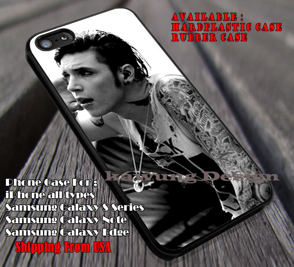 On stage cool, andy biersack,  BVB, black veil brides, case/cover for iPhone 4/4s/5/5c/6/6+/6s/6s+ Samsung Galaxy S4/S5/S6/Edge/Edge+ NOTE 3/4/5 #music #bvb ii - Kawung Design  - 1