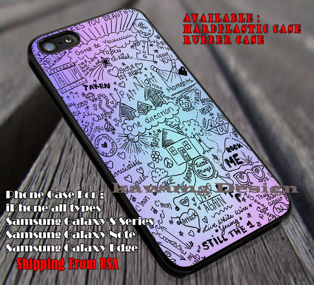 One D collage lyric #art,one direction,1D cases/covers for iPhone 4/4s/5/5c/6/6+/6s/6s+ Samsung Galaxy S4/S5/S6/Edge/Edge+ NOTE 3/4/5 #music #1d ii - Kawung Design  - 1