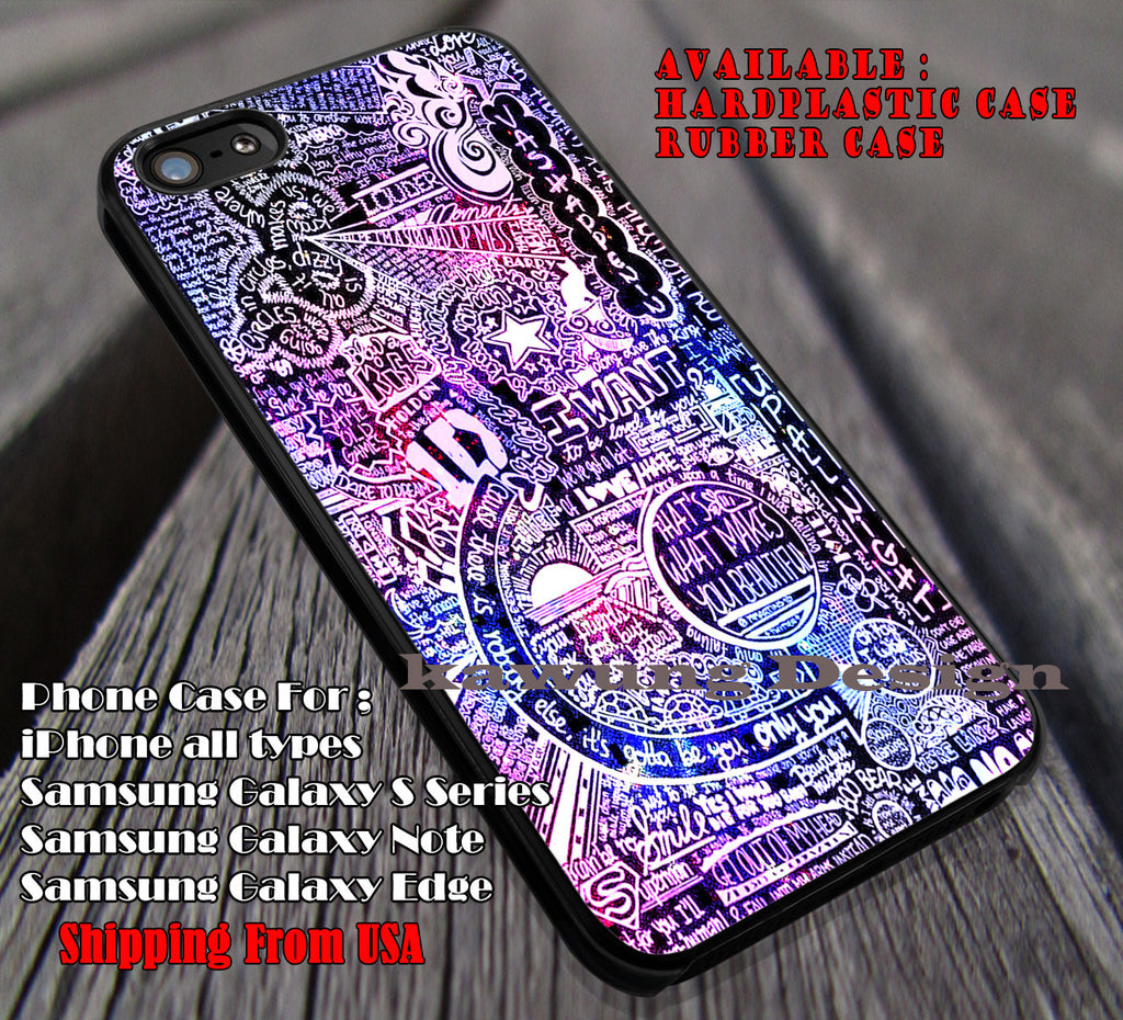 Rainbow nebula collage lyrics,One Direction,1D, cases/covers for iPhone 4/4s/5/5c/6/6+/6s/6s+ Samsung Galaxy S4/S5/S6/Edge/Edge+ NOTE 3/4/5 #music #1d ii - Kawung Design  - 1