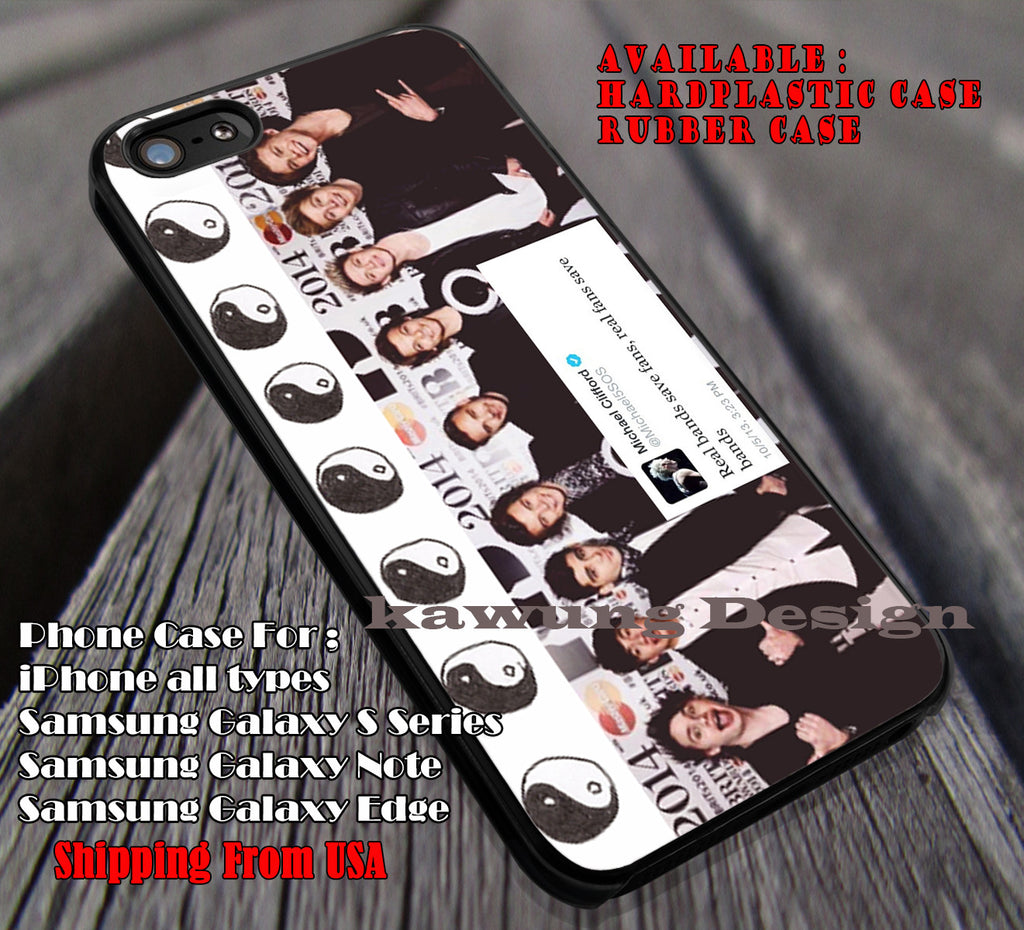 Real Band Their Not Only Band Tome | One Direction | 1D | 5sos | 5 Second of Summer | case/cover for iPhone 4/4s/5/5c/6/6+/6s/6s+ Samsung Galaxy S4/S5/S6/Edge/Edge+ NOTE 3/4/5 #music #5sos #1D ii - Kawung Design  - 1
