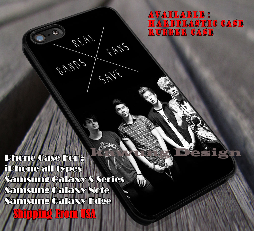 Real bands save fans, michael clifford, luke hemmings, ashton,  calum, 5sos, 5 Second of Summer, case/cover for iPhone 4/4s/5/5c/6/6+/6s/6s+ Samsung Galaxy S4/S5/S6/Edge/Edge+ NOTE 3/4/5 #music #5sos ii - Kawung Design  - 1