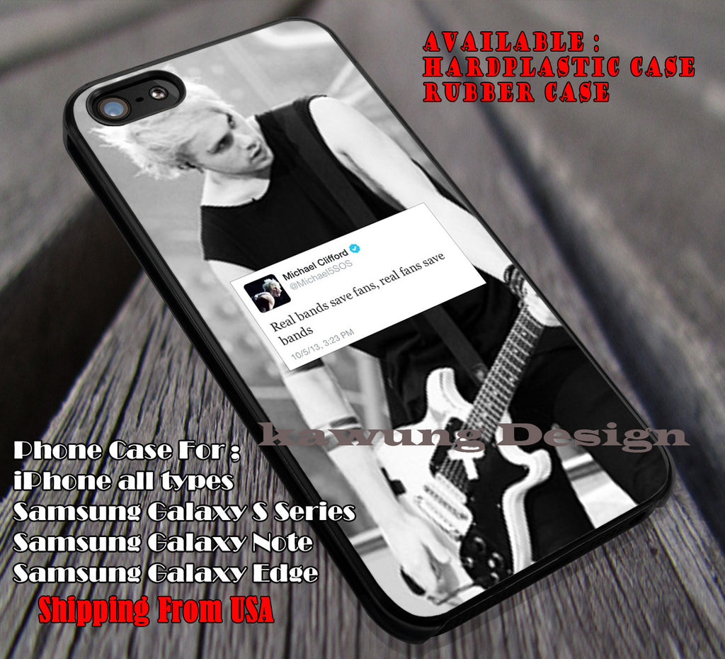 Save bands, michael clifford, real bands, real fans, 5sos, 5 Second of Summer, case/cover for iPhone 4/4s/5/5c/6/6+/6s/6s+ Samsung Galaxy S4/S5/S6/Edge/Edge+ NOTE 3/4/5 #music #5sos ii - Kawung Design  - 1