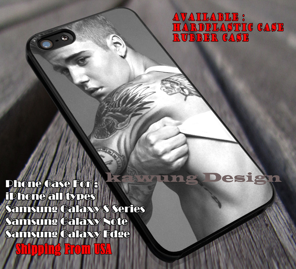 sexy with his tattoo, JB, justin bieber, case/cover for iPhone 4/4s/5/5c/6/6+/6s/6s+ Samsung Galaxy S4/S5/S6/Edge/Edge+ NOTE 3/4/5 #music #jb ii - Kawung Design  - 1