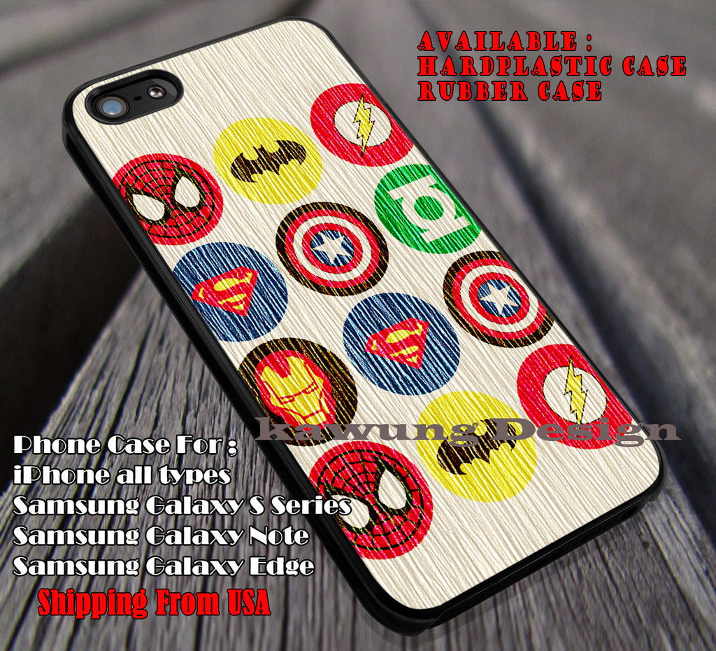 Super Heros Logo on Wood Cream, Wood Cream, Spiderman, Avengers, Superman, Batman, case/cover for iPhone 4/4s/5/5c/6/6+/6s/6s+ Samsung Galaxy S4/S5/S6/Edge/Edge+ NOTE 3/4/5 #cartoon #animated #batman ii - Kawung Design  - 1