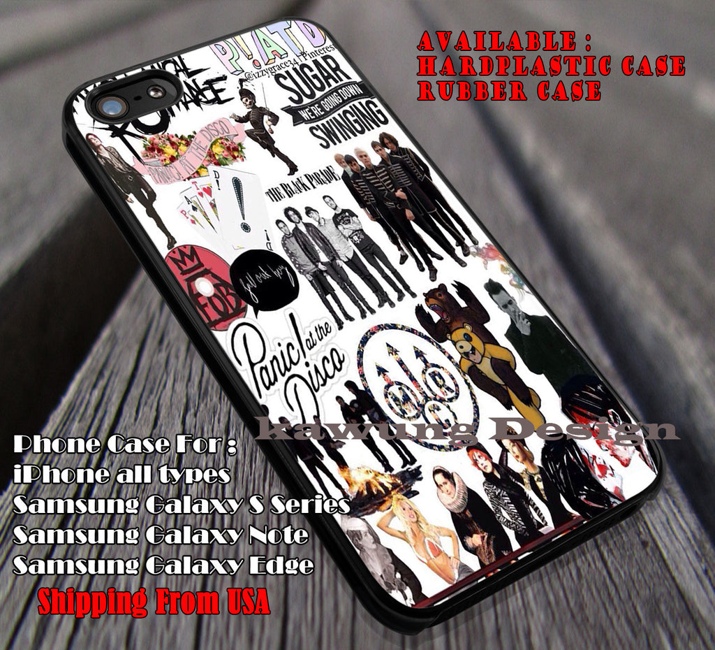 Collage Art #PATD Chemical Romance case/cover for iPhone 6s+ 6 plus 5c 5s 5 Samsung Galaxy S4 S5 S6 Edge+ NOTE 5 4 3 2 Covers #music #patd #fob #mcr ii - Kawung Design  - 1
