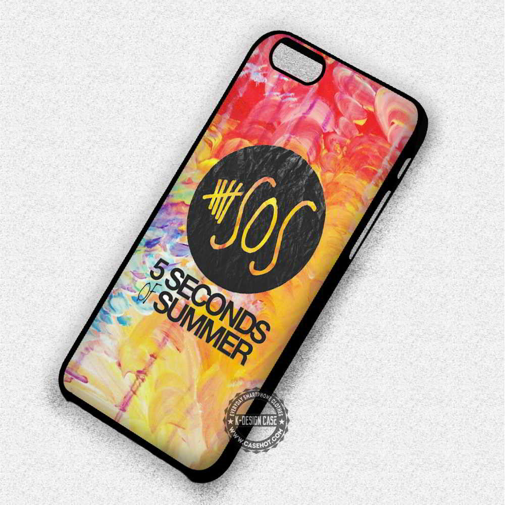 5 Seconds of Summer 5 Seconds of Summer Logo on Watercolor - iPhone 7 6S 5 SE 4 Cases & Covers - Kawung Design  - 1