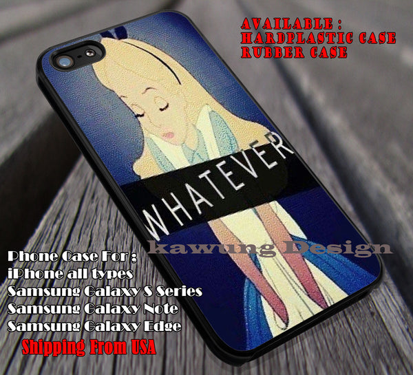 Whatever, Alice In Wonderland, Chesire Cat, Alice Weird, Whatever Alice, case/cover for iPhone 4/4s/5/5c/6/6+/6s/6s+ Samsung Galaxy S4/S5/S6/Edge/Edge+ NOTE 3/4/5 #cartoon #anime #alice ii - Kawung Design  - 1