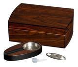 Polished Walnut Cigar Gift Set Including Ashtray & Cutter