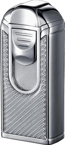 Visol Alec III Chrome and White Carbon Fiber Triple Torch Flame Lighter