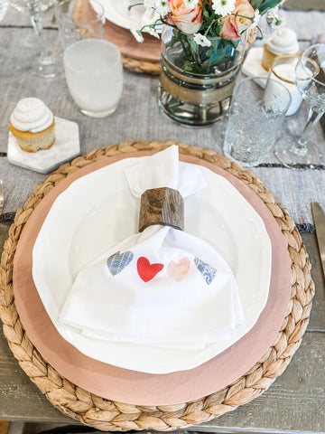 Valentines Day tablescape, Valentines Day party, Valentines Day decor, blush and gold valentines table, valentines napkins