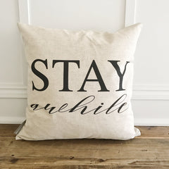 Stay Awhile Pillow Cover | Linen & Ivory