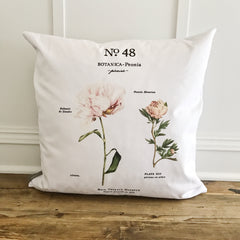 Peony Botanical Pillow Cover | Linen & Ivory