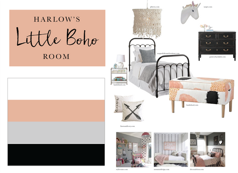 Little Boho Girls Room Black White Rose