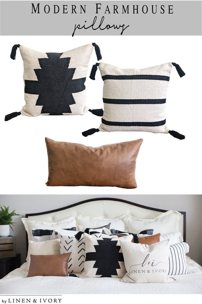 Perfect Modern Farmhouse Layering Pillows #modernfarmhouse #homecor #bohodecor