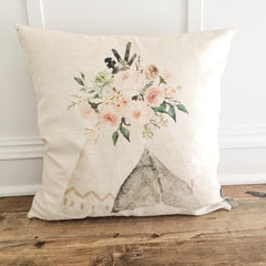 Linen and Ivory Floral Teepee Pillow