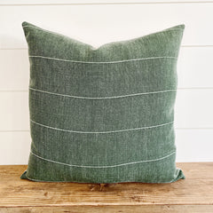 dark green pillow, olive green pillow, green linen pillow