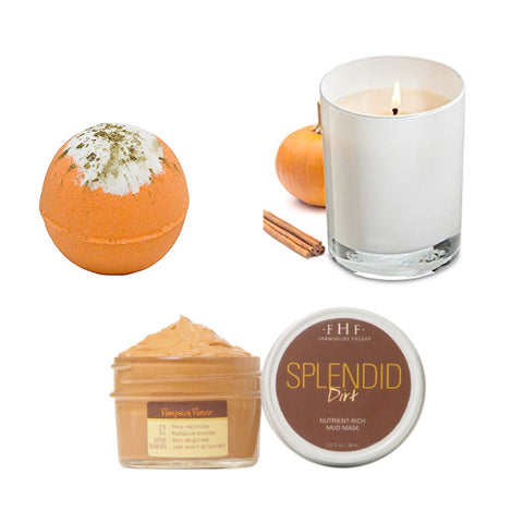bath bom, pumpkin face mask, pumpkin candle