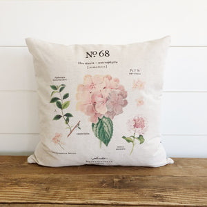 Hydrangea Botanical Pillow Cover (Pink) - Linen and Ivory