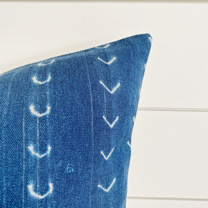"""Mae"" Indigo Authentic African Mud cloth Pillow Cover"