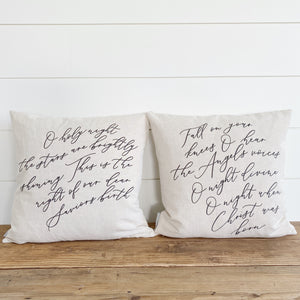 Fall On Your Knees Calligraphy Pillow Cover - Linen and Ivory