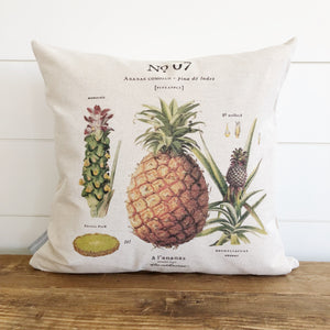 Pineapple Botanical Pillow Cover - Linen and Ivory